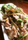 水菜とこんにゃくの豚肉辛煮
