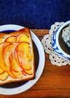 ハムチーズと煮りんごトースト
