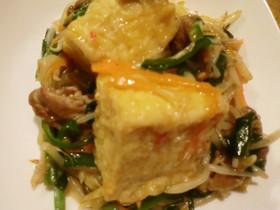 簡単素材野菜炒めと揚げだし豆腐のコラボ