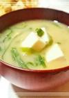 汁物100選☆大豆の煮汁で豆腐のお味噌汁
