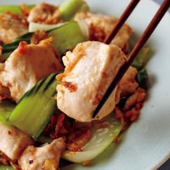 塩鶏と青梗菜のえび塩炒め