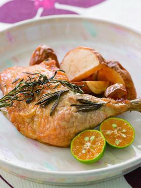 鶏もも肉のローストシークヮーサーの香り