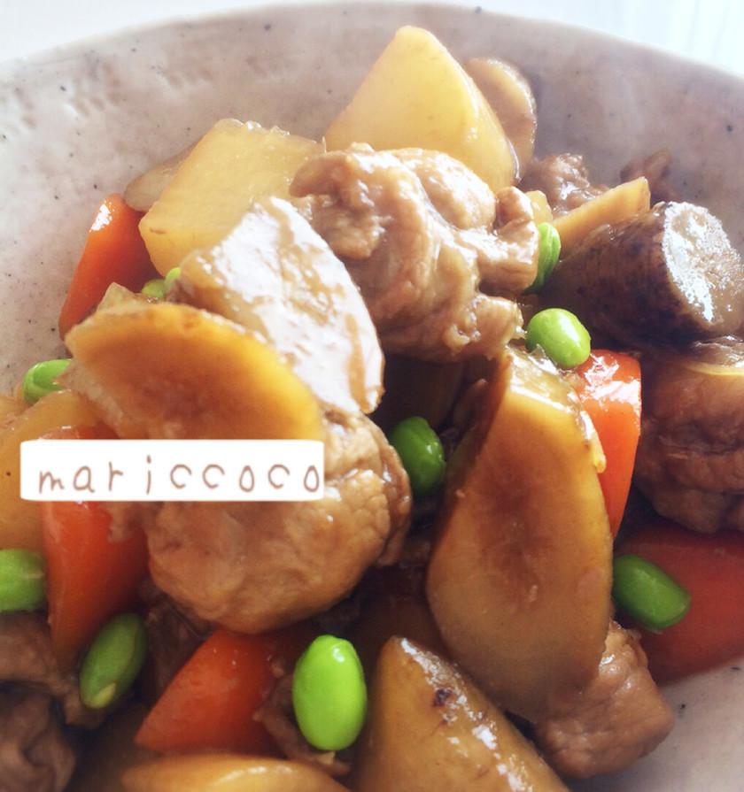 豚肉と根菜の黒酢煮♡時短35分