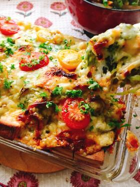 高野豆腐で!なまりキャベツのカレーピザ。