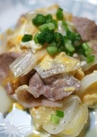 新玉葱と豚肉の卵とじ炒め