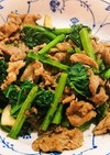 ラム肉と茎立菜のオイスターソース炒め
