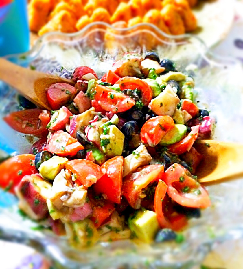 持ち寄りで絶賛!タコとトマトのサラダ。