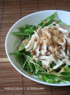 水菜+鶏むね肉で♡バンバンジー風サラダ