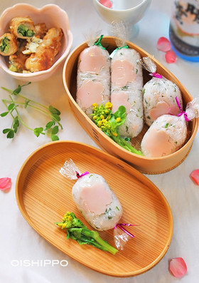 お花見弁当に!キャンデー包みさくら寿司