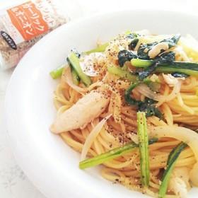 小松菜とささみのガーリックオニオンパスタ