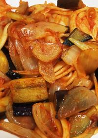 簡単!残り物乾麺うどんのナポリタン