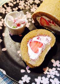 花びら苺のほっこり和風ロールケーキ***