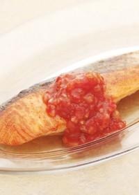 フレッシュトマトソースのサーモンソテー
