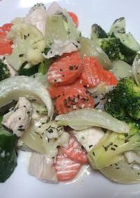 俺流!洋風野菜とチキンのバジルサラダ