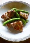 鶏とスナップエンドウのガーリック塩炒め♬