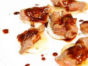 照り焼きソースで頂く牛肉と大根のステーキ