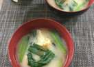 小松菜と油揚げのお味噌汁♡