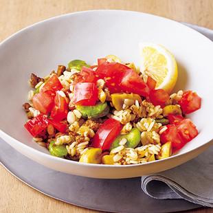 押し麦とカレーミートそら豆サラダ