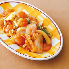 白菜とえびの片栗炒め