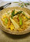 簡単☆筍とアスパラガスの彩り綺麗な炒飯