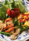 豚薄切り肉のレモン塩麹漬け野菜炒め