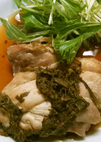 簡単♪鶏もも肉の大葉入り甘酢照りソース!