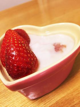 不思議な食感〜☆いちごミルクプリン