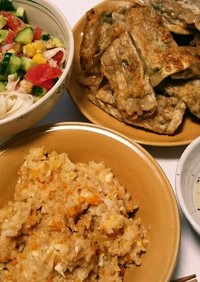 我が家の夕ご飯@ズボラ炒飯