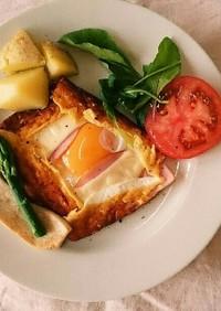 大豆粉でとろ~りチーズのエッグガレット*