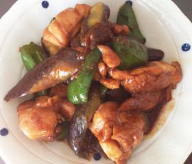 ナスとピーマン鶏もも肉の味噌炒め