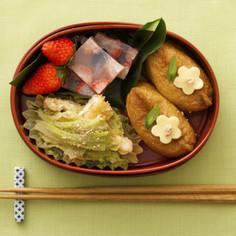 いなり寿司&キャベツと油揚げのごま和え