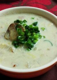 白菜とホタテの豆乳スープ