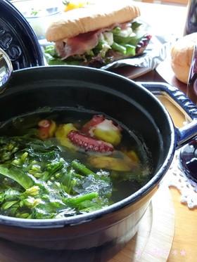 BBQにも☆タコと菜の花のアヒージョ