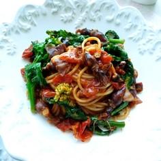 ホタルイカと菜の花のトマトスパゲッティ