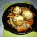 ニトスキで若鶏の鶏皮と男爵の丸ごと焼き