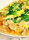 豚肉と水菜と卵の炒め蒸し(丼)
