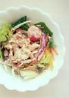 彩り野菜と蒸し鶏の簡単サラダ