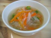ねぎネギ人参の春雨スープの写真