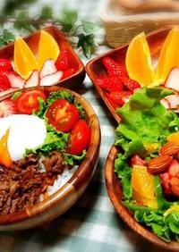 牛肉とニンニクのカフェ風丼