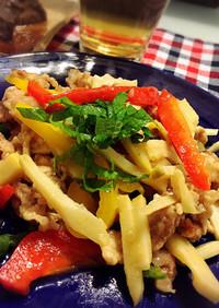 筍とカラフルパプリカの塩青椒肉絲