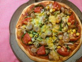 トマトケチャップでミックスピザ