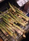 グリルで姫竹を焼く