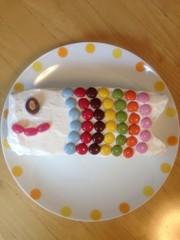 子どもの日☆牛乳パックでこいのぼりケーキの写真
