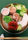 餃子の皮とハムで☆バラの花