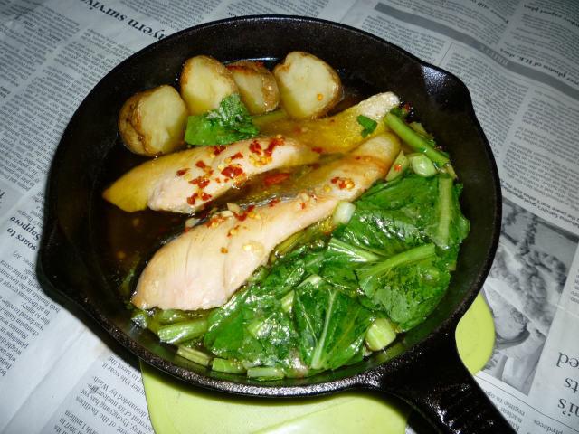 イシスキで白鮭+小松菜のアヒージョ