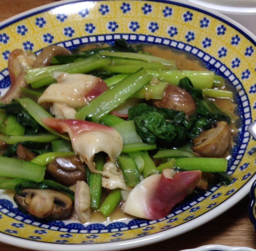 ホッキ貝と小松菜の中華炒め