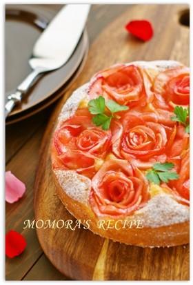 簡単HM記念日や母の日♡林檎の薔薇ケーキ