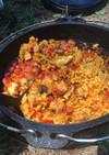ダッチオーブンで簡単ジャンバラヤ