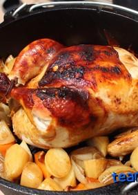ダッチオーブンでカレー風味丸鶏