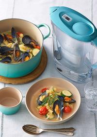ムール貝と夏野菜のショートパスタ